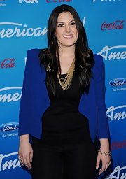 Kree Harrison opted for a modern, edgy look with this blue blazer.