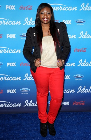 Candice Glover chose a black blazer with puffy sleeves to complete her look at the 'American Idol' finalists' party.