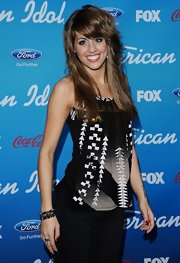 Angie Miller wore this black and white print top for a bit of a rocker look at the 'American Idol' finalists' party.