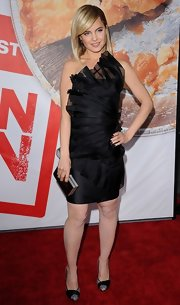 Mena Suvari sported a silver sequined pair of heels with black accents for the premiere of 'American Reunion.'