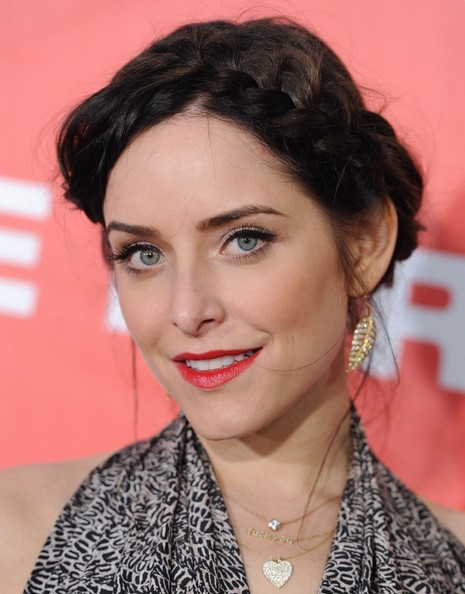 Jenny Mollen wore her long dark tresses in a casually braided updo for the premiere of 'American Reunion.'