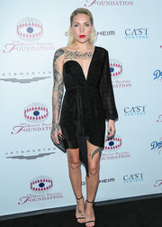 Skylar Grey looked fierce in a one-sleeve LBD by Michelle Mason at the Brent Shapiro Foundation Summer Spectacular.
