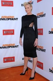 Portia de Rossi rocked a chic and modern LBD with a sheer cutout on the side.