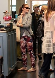 Minka Kelly was spotted in Australia wearing these splotchy print pants.