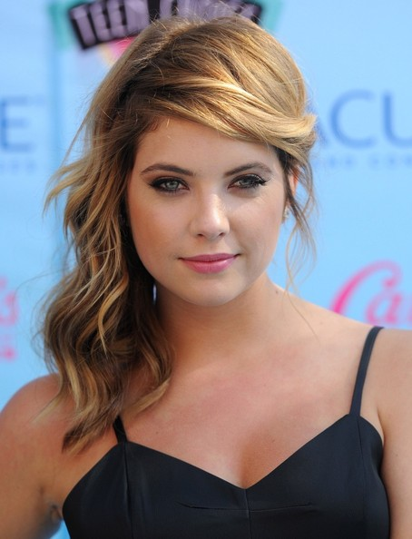 Ashley+Benson+Long+Hairstyles+Side+Sweep