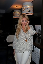 Aubrey O'Day drew out her boho side in this flowy, patterned blouse.