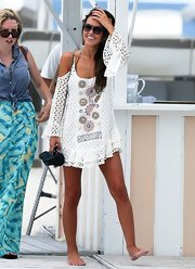 Audrina Patridge rocked the beach look when she donned this crocheted embroidered cover up while out in Miami.