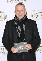 Jean Paul dinned a argyle print scarf while at the premiere of 'Australia.