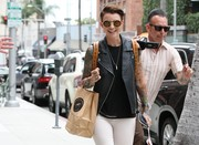 Ruby Rose wore a black leather motorcycle vest while out shopping in Beverly Hills.