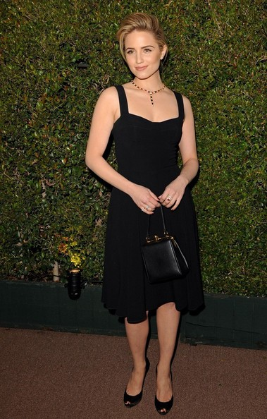 Dianna Agron amped up the classic feel with a black Dolce & Gabbana Agata purse.