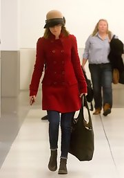 Elisabeth banks sported a classic red wool coat while out in LA.