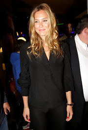 Bar Refaeli donned a black silk blouse for the screening of 'Session.'