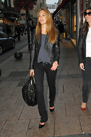 Bar Refaeli wore a leather jacket with her black skinny jeans while out shopping at Cannes.