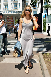Bar Refaeli slipped into a gray silk ankle-length dress while strolling through Cannes.