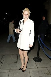 Alex Danson chose a white wool coat for her classic look at the Barry the Dog VIP Fundraiser.