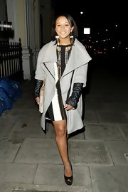 Zoe Smith chose a gray wool coat with wide, triangular lapels for her futuristic look.