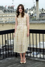 Keira Knightley gave a feminine look in a Simone Rocha gold embroidered midi dress at the 'Begin Again' photo call in London.