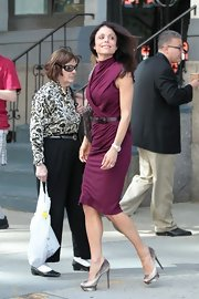 Bethenny Frankel stepped out in NYC wearing a pair of shiny metallic silver platform peep toe pumps.