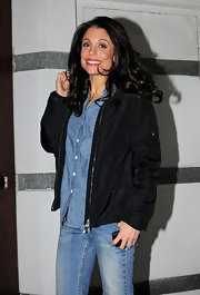 Bethenny Frankel was spotted out in NYC wearing her voluminous hair in glossy curls.