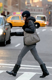 Bethenny Frankel headed out into the cold wearing a pair of quilted black leather motorcycle boots.