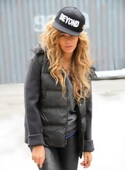 Beyonce looked fierce and fabulous in this black puffa vest.