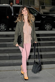 Rachel Bilson teamed her pastel attire with butter yellow Bebel textured cotton platform pumps.
