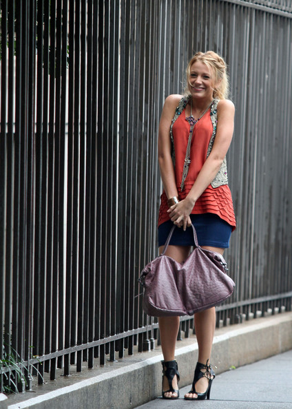 Blake Lively Silver Lariat Necklace