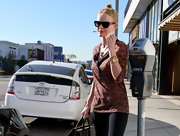 Kate Bosworth accessorized her outfit with a stack of gold bangles while shopping in Hollywood.