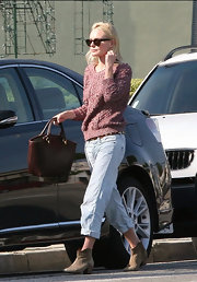 Kate Bosworth stepped out with a wine leather tote with gold hardware.