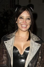 Daisy Lowe topped off her Halloween costume with a cat-ear headband.
