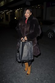 Beverley Knight bundled up in a glamorous knee-length fur coat while out at the James' Jog-On to Cancer event.