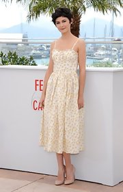 Audrey Tautou's soft printed sundress gave her a sweet and innocent look while at the Cannes Film Festival.