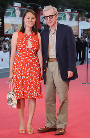Soon-Yi attended the Venice Film Festival wearing a printed day dress and matching sandals.