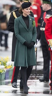 The Duchess of Cambridge chose one of her favorites, a green pleated coat, for the St. Patrick's Day Parade.