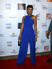 Teyonah Parris looked electrifying in this royal-blue Gauri & Nainika jumpsuit while attending the AAFCA Awards.