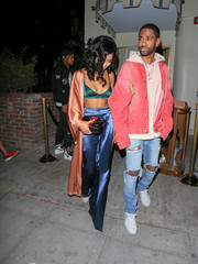 Jhene Aiko looked seductive in an emerald-green Mistress Rocks bra during Kendall Jenner's 21st birthday party.