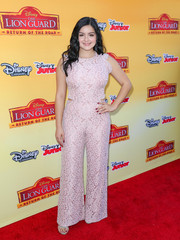 Ariel Winter looked elegant in a soft pink lace jumpsuit to the premiere of 'The Lion Guard: Return of the Roar' red carpet