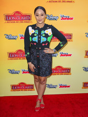 Tia Mowry played with colors and patterns in this Peter Pilotto embroidered mini dress for her 'Lion Guard: Return of the Roar' premiere look.