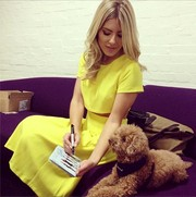 Mollie King was a ray of sunshine in a bright yellow crop-top and a matching skirt by Miss Selfridge.