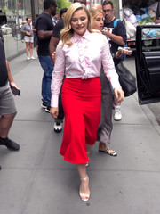 Chloe Grace Moretz was spotted outside the NBC studios wearing a pink ruffle blouse by Bella Freud.