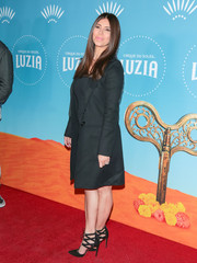 Roselyn Sanchez was all business in a gray coat at the LA premiere of Cirque du Soleil's 'Luzia.'