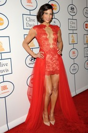 Paula Patton was a showstopper in a cleavage-baring red fishtail dress by Mireille Dagher during Clive Davis' pre-Grammy gala.