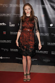 Lily Cole paired snakeskin sandals with her dress for an ultra-chic finish.