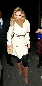 Catherine Tyldesley chose a white wool coat with brown leather trim for her look while at Riverside Studios.