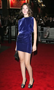 Maria Valverde's blue mini dress and embellished peep-toe pumps were a smart pairing.