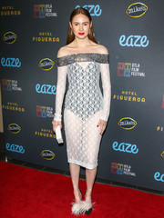 Karen Gillan teamed her sassy dress with feathered pumps by Jimmy Choo.