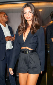 Emily Ratajkowski kept it casual in shorts, which she teamed with a black leather belt, at the 2019 Fashion Media Awards.