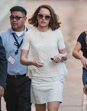 Daisy Ridley wore a pair of sunglasses with oval frames and white brow bar frames.