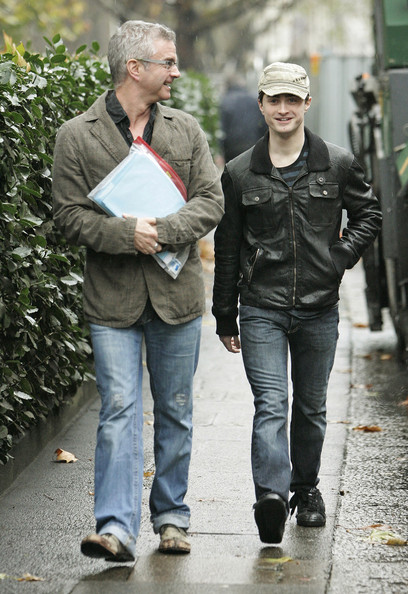Daniel Radcliffe showed off his casual side in a leather jacket, which he paired with a military cap.