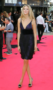 Tamsin Egerton teamed up her dress with a pair of metallic peep-toes at the premiere of 'The Dark Knight.'